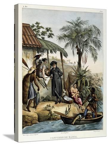 Costumes of Bahia, from 'Picturesque Voyage to Brazil', Published, 1835-Johann Moritz Rugendas-Stretched Canvas Print