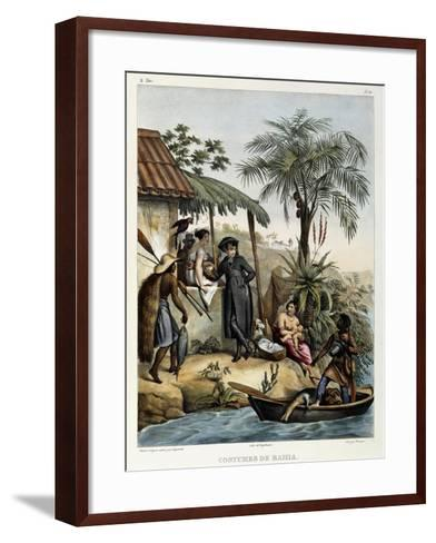 Costumes of Bahia, from 'Picturesque Voyage to Brazil', Published, 1835-Johann Moritz Rugendas-Framed Art Print