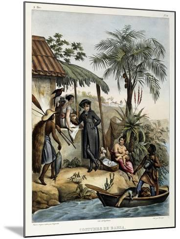 Costumes of Bahia, from 'Picturesque Voyage to Brazil', Published, 1835-Johann Moritz Rugendas-Mounted Giclee Print