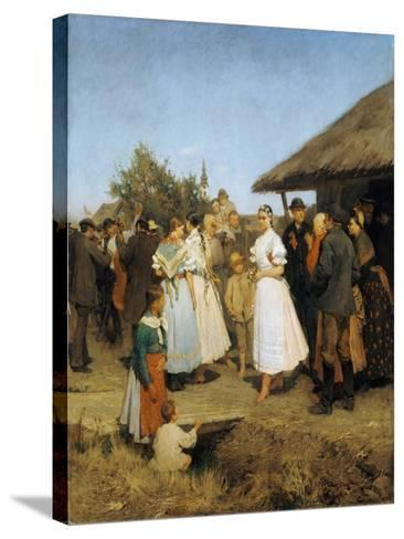 A Village Wedding in Hungary-Lajos Deák-Ebner-Stretched Canvas Print