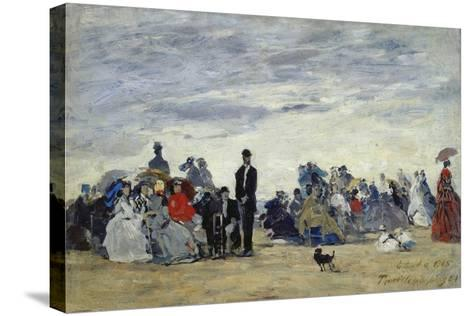 Am Strand Von Trouville, 1865-Eug?ne Boudin-Stretched Canvas Print