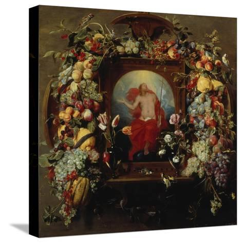 Flower and Fruit Garlands and the Ascension, 1630-40-Frans Snyders-Stretched Canvas Print