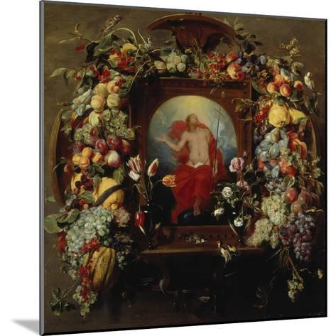 Flower and Fruit Garlands and the Ascension, 1630-40-Frans Snyders-Mounted Giclee Print