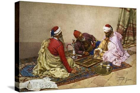 The Backgammon Players-Giulio Rosati-Stretched Canvas Print