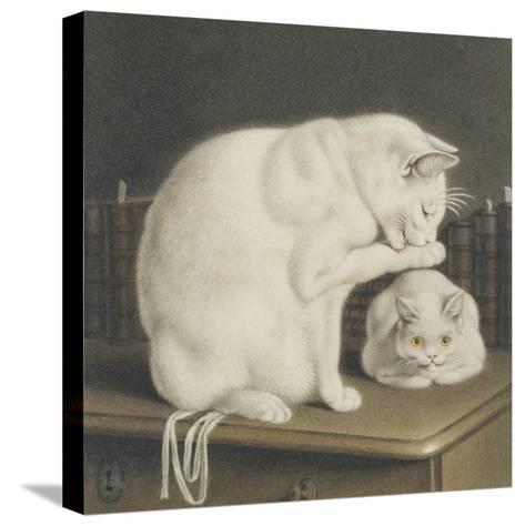 Two White Cats with Books on a Table-Gottfried Mind-Stretched Canvas Print