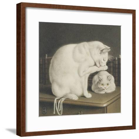 Two White Cats with Books on a Table-Gottfried Mind-Framed Art Print