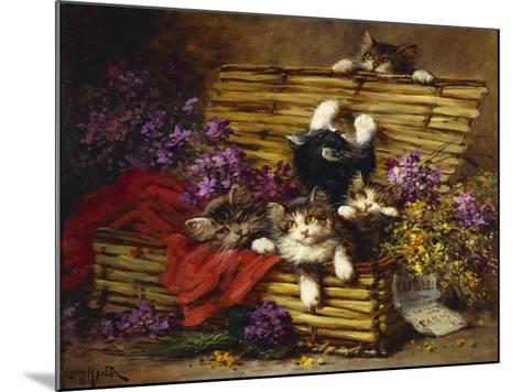 Kittens at Play-Léon Charles Huber-Mounted Giclee Print