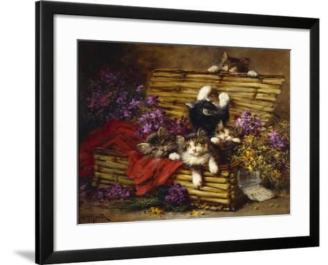 Kittens at Play-Léon Charles Huber-Framed Art Print