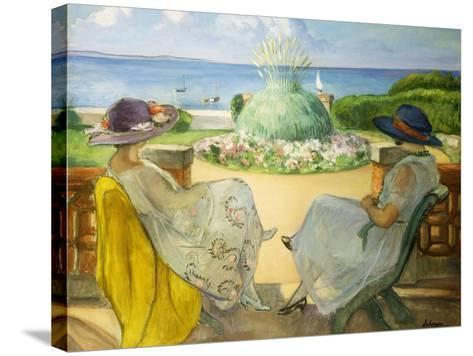 Two Young Women on a Terrace by the Sea, 1922-Henri Lebasque-Stretched Canvas Print