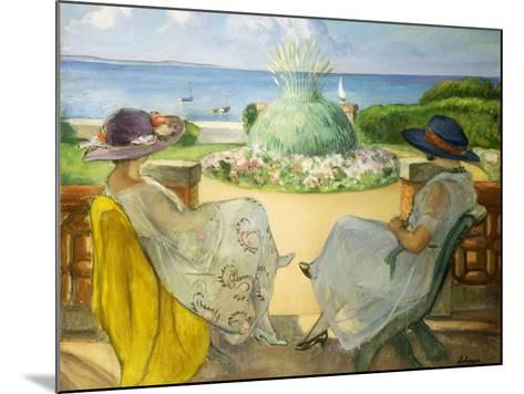 Two Young Women on a Terrace by the Sea, 1922-Henri Lebasque-Mounted Giclee Print