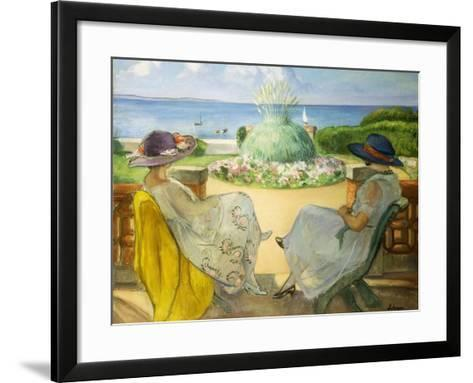 Two Young Women on a Terrace by the Sea, 1922-Henri Lebasque-Framed Art Print