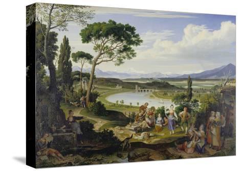 A View of the Tiber Near Rome, a Rural Feast, 1818-Joseph Anton Koch-Stretched Canvas Print