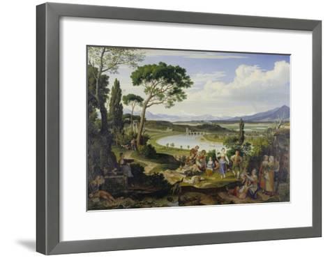A View of the Tiber Near Rome, a Rural Feast, 1818-Joseph Anton Koch-Framed Art Print