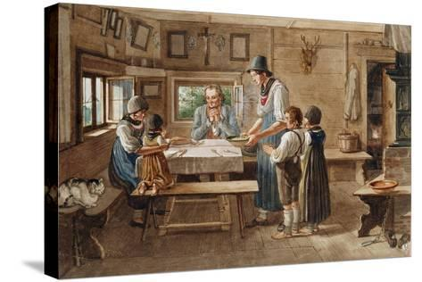 Grace before the Meal-Lorenzo Quaglio-Stretched Canvas Print