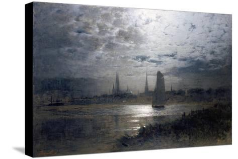 Moonlight over Luebeck-Louis Douzette-Stretched Canvas Print