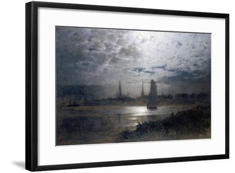 Moonlight over Luebeck-Louis Douzette-Framed Art Print