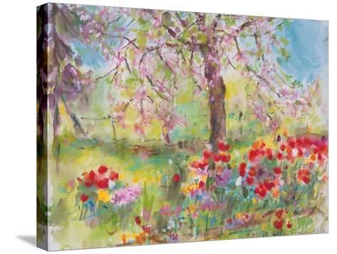 Tulips under Blossoming Appletree, 1991-Eva Fischer-Keller-Stretched Canvas Print
