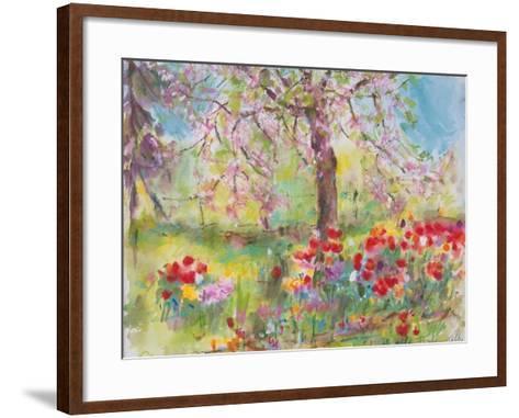 Tulips under Blossoming Appletree, 1991-Eva Fischer-Keller-Framed Art Print