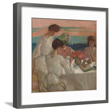 Afternoon Tea on the Terrace-Frederick Karl Frieseke-Framed Art Print