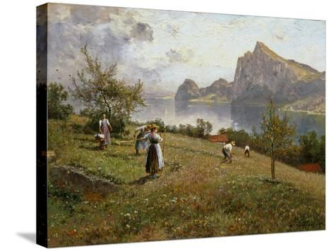 Harvesters by the Chiemsee, 1912-Joseph Wopfner-Stretched Canvas Print