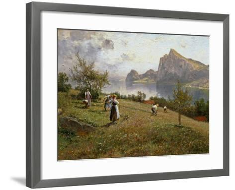 Harvesters by the Chiemsee, 1912-Joseph Wopfner-Framed Art Print