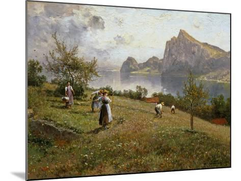 Harvesters by the Chiemsee, 1912-Joseph Wopfner-Mounted Giclee Print