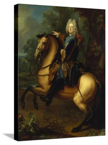 King August III, of Poland as Prince on Horse, C. 1718-Louis Silvestre-Stretched Canvas Print