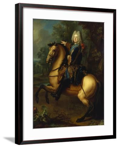 King August III, of Poland as Prince on Horse, C. 1718-Louis Silvestre-Framed Art Print