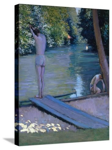 Bathers on the Banks of the River Yerres-Gustave Caillebotte-Stretched Canvas Print