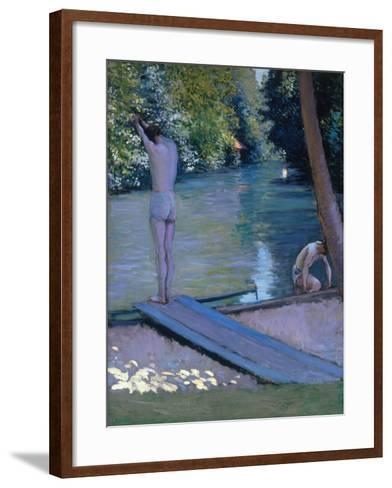 Bathers on the Banks of the River Yerres-Gustave Caillebotte-Framed Art Print