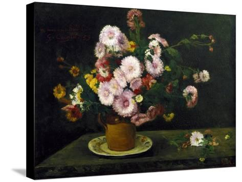 Still Life with Asters, 1859-Gustave Courbet-Stretched Canvas Print