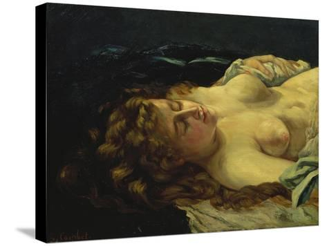 Sleeping Female with Red Hair-Gustave Courbet-Stretched Canvas Print