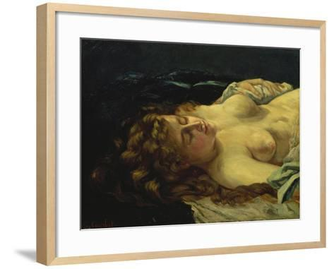 Sleeping Female with Red Hair-Gustave Courbet-Framed Art Print