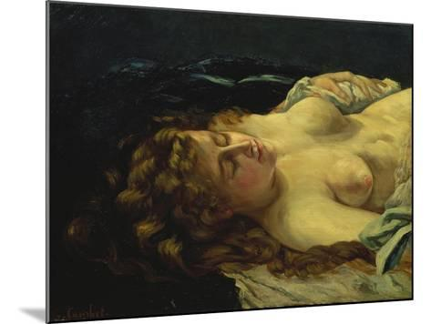 Sleeping Female with Red Hair-Gustave Courbet-Mounted Giclee Print