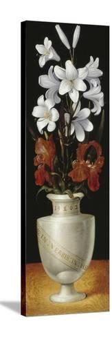 Flower Vase with Brownish-Red and White Lillies, 1562-Ludger Tom Ring-Stretched Canvas Print