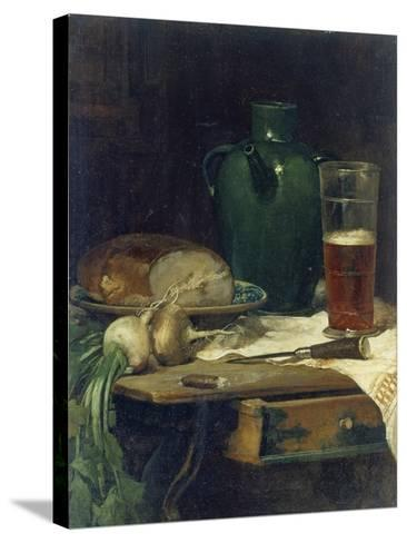 Still-Life with Bread and Beer-Ludwig Eibl-Stretched Canvas Print
