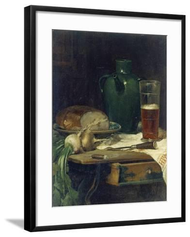 Still-Life with Bread and Beer-Ludwig Eibl-Framed Art Print