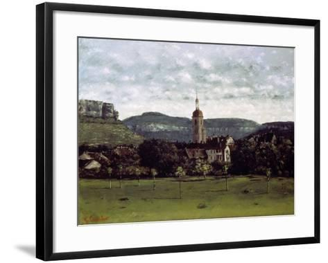View of the Bell Tower of Ornans, C. 1858-Gustave Courbet-Framed Art Print