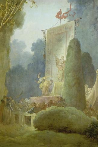 The Festival in the Park of St. Cloud. Detail: a Balladeer, 1778-80-Jean-Honor? Fragonard-Stretched Canvas Print