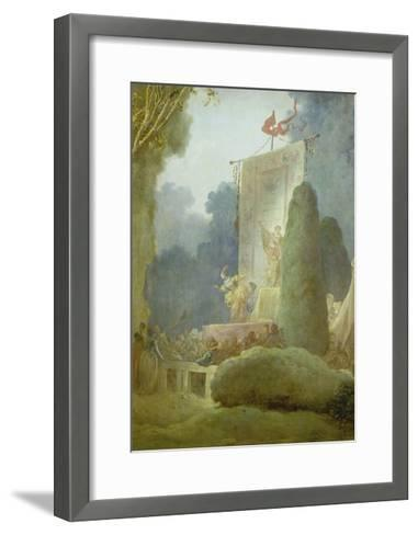 The Festival in the Park of St. Cloud. Detail: a Balladeer, 1778-80-Jean-Honor? Fragonard-Framed Art Print