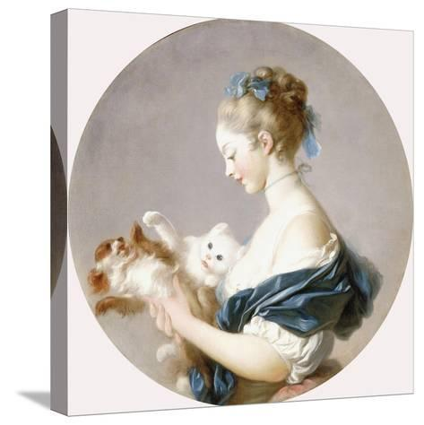 Girl Playing with a Dog and a Cat (Said to Be Marie-Madeline Colombe)-Jean-Honor? Fragonard-Stretched Canvas Print