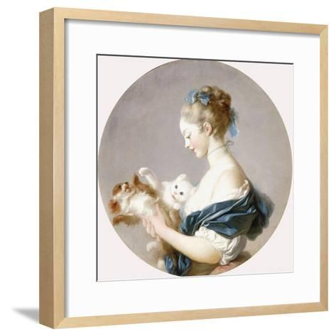 Girl Playing with a Dog and a Cat (Said to Be Marie-Madeline Colombe)-Jean-Honor? Fragonard-Framed Art Print