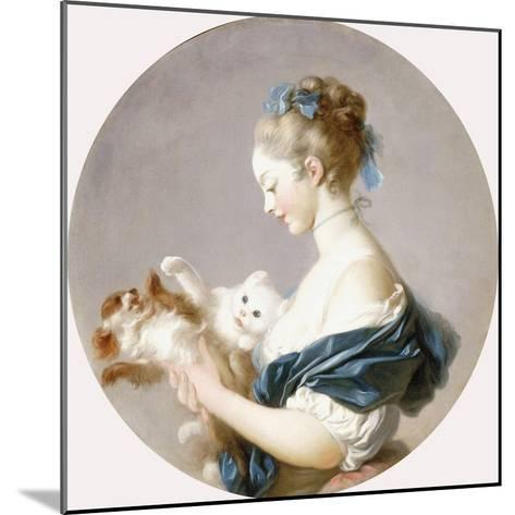 Girl Playing with a Dog and a Cat (Said to Be Marie-Madeline Colombe)-Jean-Honor? Fragonard-Mounted Giclee Print