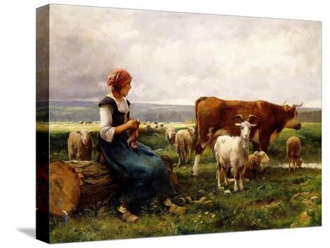 Shepherdess with Cows and Goats-Julien Dupr?-Stretched Canvas Print