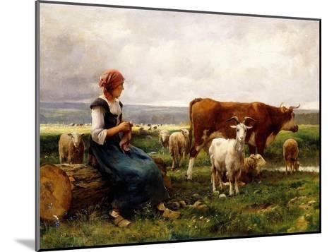 Shepherdess with Cows and Goats-Julien Dupr?-Mounted Giclee Print