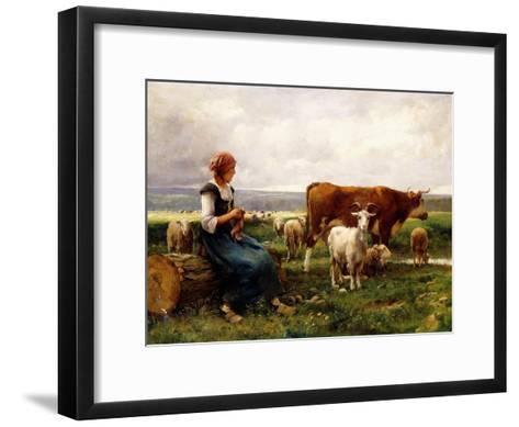 Shepherdess with Cows and Goats-Julien Dupr?-Framed Art Print