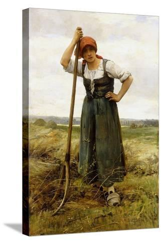 Peasant Woman Leaning on a Pitchfork-Julien Dupr?-Stretched Canvas Print