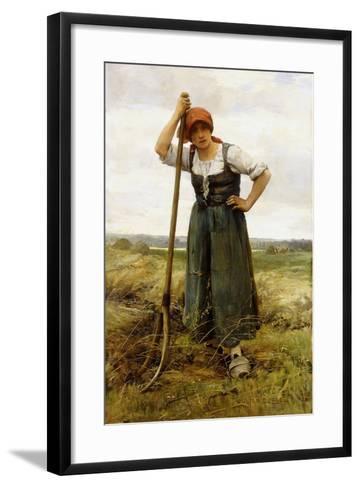 Peasant Woman Leaning on a Pitchfork-Julien Dupr?-Framed Art Print