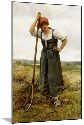Peasant Woman Leaning on a Pitchfork-Julien Dupr?-Mounted Giclee Print