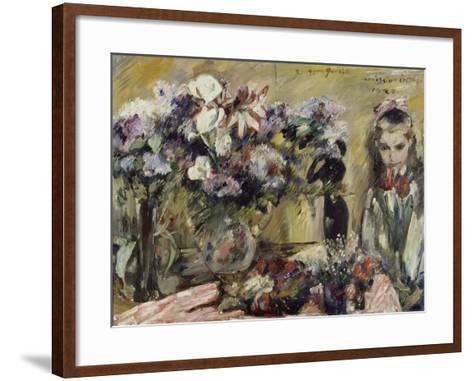 Flowers and the Artist's Daughter Wilhelmine, 1920-Lovis Corinth-Framed Art Print
